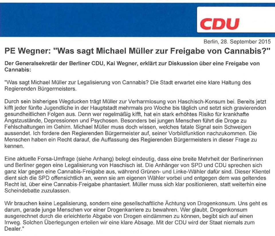 Presseerklärung des Generalsekretärs der CDU Berlin, Kai Wegner