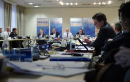 Rechtspolitiker Andreas Gram, Bundestagsabgeordneter Kai Wegner, Ingo Schmitt, Friedbert Pflüger und Innenexperte Frank Henkel bei der Diskussion